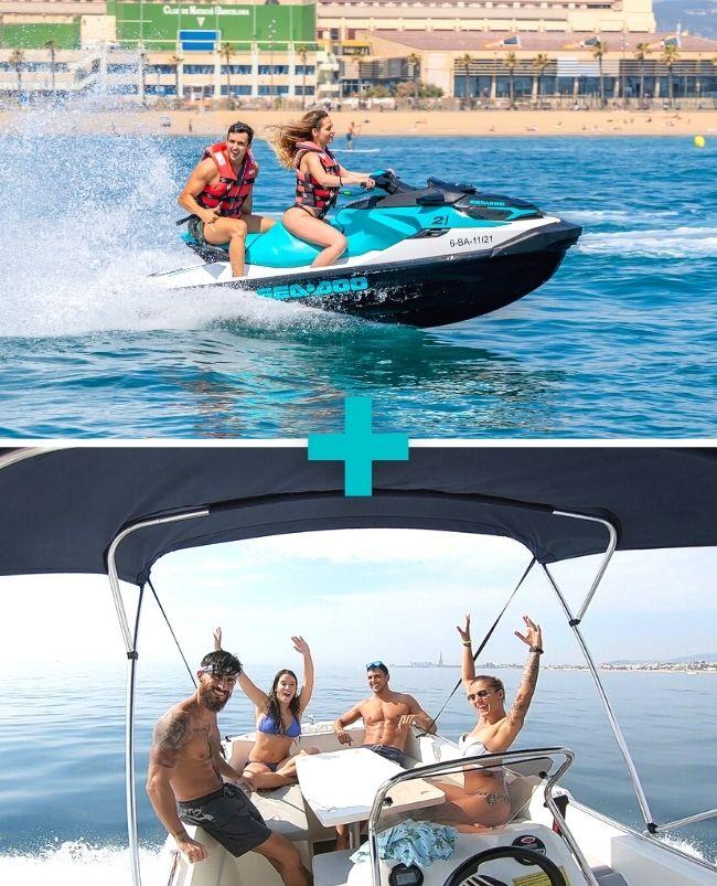 Moto de agua 20 min biplaza + Alquiler de barco 2h Barcelona