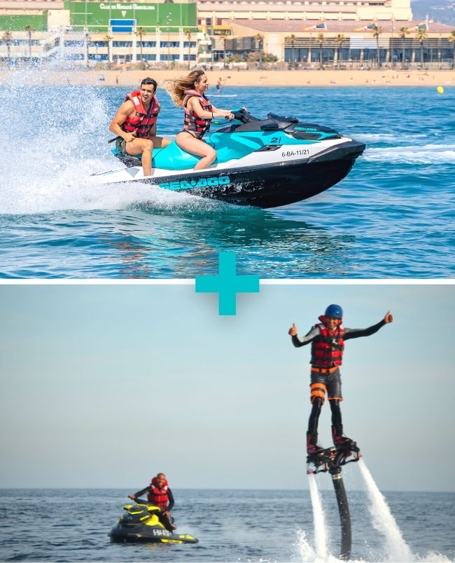 Moto de agua 20 min biplaza + Flyboard 15 min Barcelona