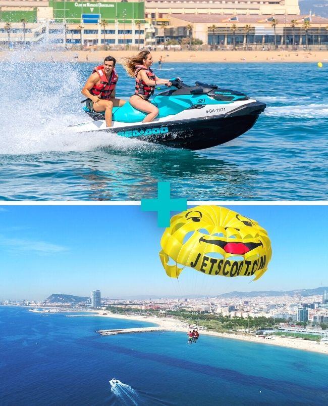 Moto de agua + Parasailing en Barcelona
