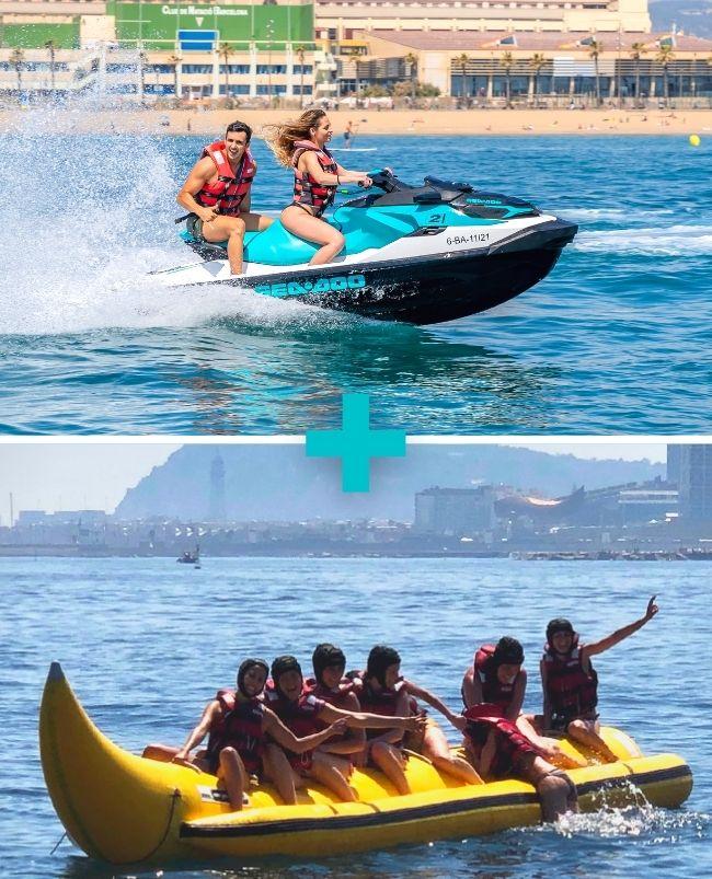 Moto de agua 20 min biplaza + Crazy Sofa o Banana Boat 15 min Barcelona